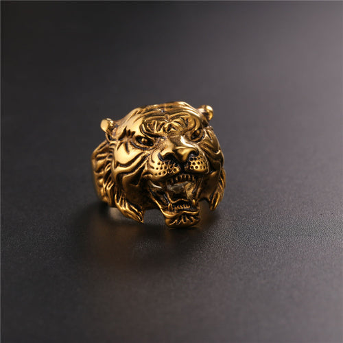 Brand Big Tiger Ring Male Gold Color Stainless Steel Black Animal Retro Rock Punk Kpop Hot Men Jewelry Gift - moonaro