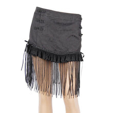 Load image into Gallery viewer, Women Sexy Tassel Jacquard Mini Skirts Female Black Casual Short Skirts Back Lace-up Tassel Skirts