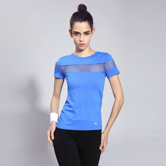 Fitness Women Sports T-shirt Running Short Sleeve Quick Dry Breathable Gym Sexy Hollow Nylon Sportswear Tops - moonaro