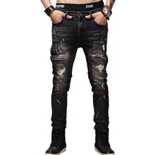Load image into Gallery viewer, Men black jeans stretch slim fit man denim hiphop straight pants fashion ripped hole jeans rock moto style street wear trousers