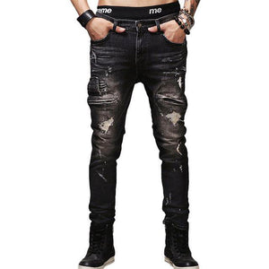 Men black jeans stretch slim fit man denim hiphop straight pants fashion ripped hole jeans rock moto style street wear trousers