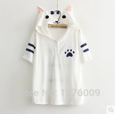 Women Tops Anime Kawaii Cat Shirt Neko Atsume  Kawaii Mori Girl Tee Roupas Superstar Town