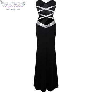 Black White Party Gown Long Prom Dress Women's Strapless Criss-Cross Classic Mermaid - moonaro
