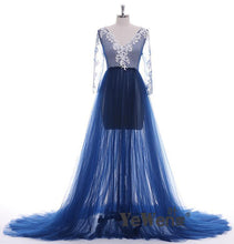 Load image into Gallery viewer, Pregnant  Dress Long Sleeve See Through Deep Blue Evening Dresses Custom Color Plus Size 2019 Prom Dress