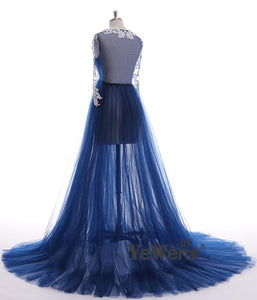 Pregnant  Dress Long Sleeve See Through Deep Blue Evening Dresses Custom Color Plus Size 2019 Prom Dress