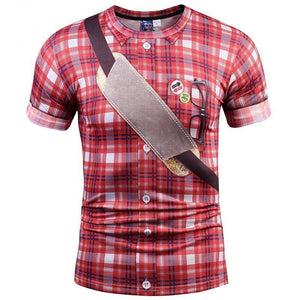 Men Red Plaid T-shirt 3d Print Fake Shirts Summer Tops Tees Fashion 3d T shirt