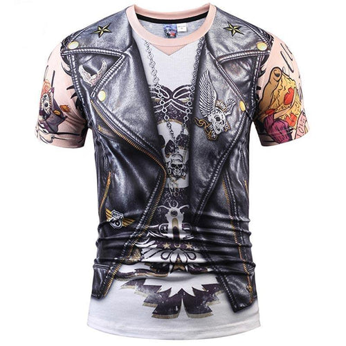 Designer Stylish 3d T-shirt Men/Women Tops Print Fake Leather Jacket T shirt 3d Summer Tees Shirts