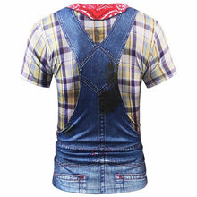 Load image into Gallery viewer, 3d T-shirt Men/women Summer Tops Tees Print Fake Plaid Shirts Jeans T shirt Stylish Tees Shirts - moonaro