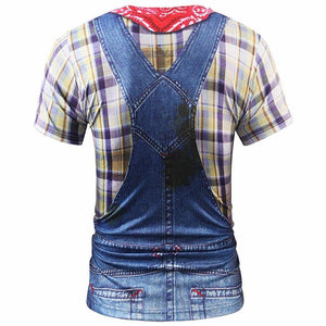 3d T-shirt Men/women Summer Tops Tees Print Fake Plaid Shirts Jeans T shirt Stylish Tees Shirts - moonaro