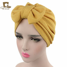 Load image into Gallery viewer, women luxury bow Turban Hat Stylish Chemo cap detachable bowknot
