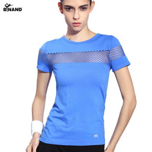 Load image into Gallery viewer, Fitness Women Sports T-shirt Running Short Sleeve Quick Dry Breathable Gym Sexy Hollow Nylon Sportswear Tops - moonaro