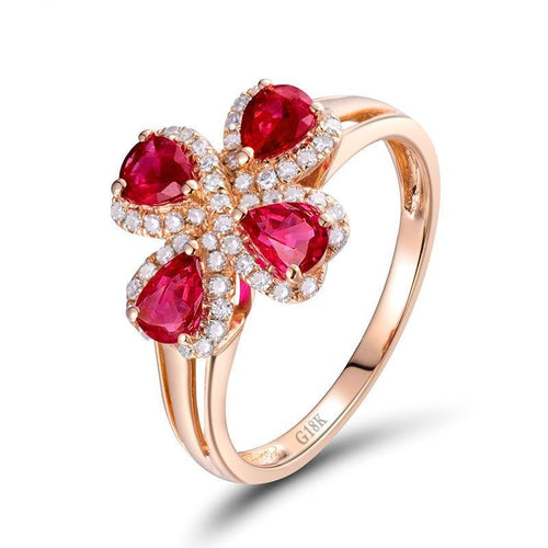Flower Shaped Ruby Rings Engagement Rind Pear Cut 3.3x4.3mm Gemstone In 18K Rose Gold Diamond Jewelry for Lady - moonaro