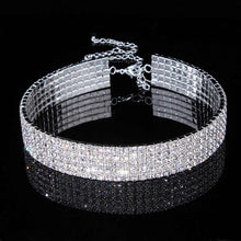 Load image into Gallery viewer, Luxury Jewelry For Women Bridal Wedding Party Prom Stretch Rhinestone Crystal Choker Necklace Elastic Cord Elegant