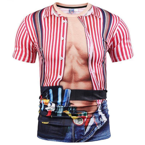 New Fashion Tooling Print T-shirt Men 3d T-shirt Fake Two Pieces Style Summer Tops Tees