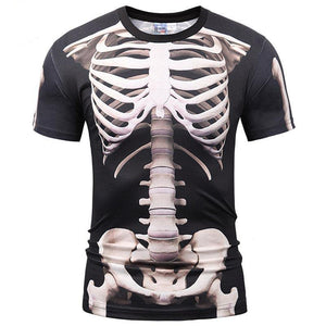 Fashion Men T-shirt 3d Print Skeleton Skulls T-shirt Summer Tops Tees Brand T shirt