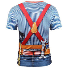 Load image into Gallery viewer, New Fashion Designed T-shirt Men Fake Two Pieces 3d T shirt Print Tooling Stripes Shirts Summer Tops Tees