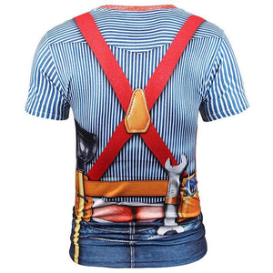 New Fashion Designed T-shirt Men Fake Two Pieces 3d T shirt Print Tooling Stripes Shirts Summer Tops Tees