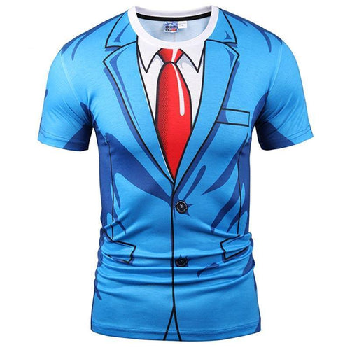 Brand T-shirt Men Fashion 3d Tshirt Print Blue Suit Jacket Summer Tops Tees Fake Two Pieces T shirt - moonaro