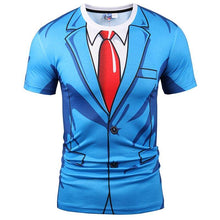 Load image into Gallery viewer, Brand T-shirt Men Fashion 3d Tshirt Print Blue Suit Jacket Summer Tops Tees Fake Two Pieces T shirt - moonaro