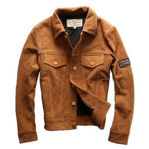 men's vintage genuine cow skin leather jacket