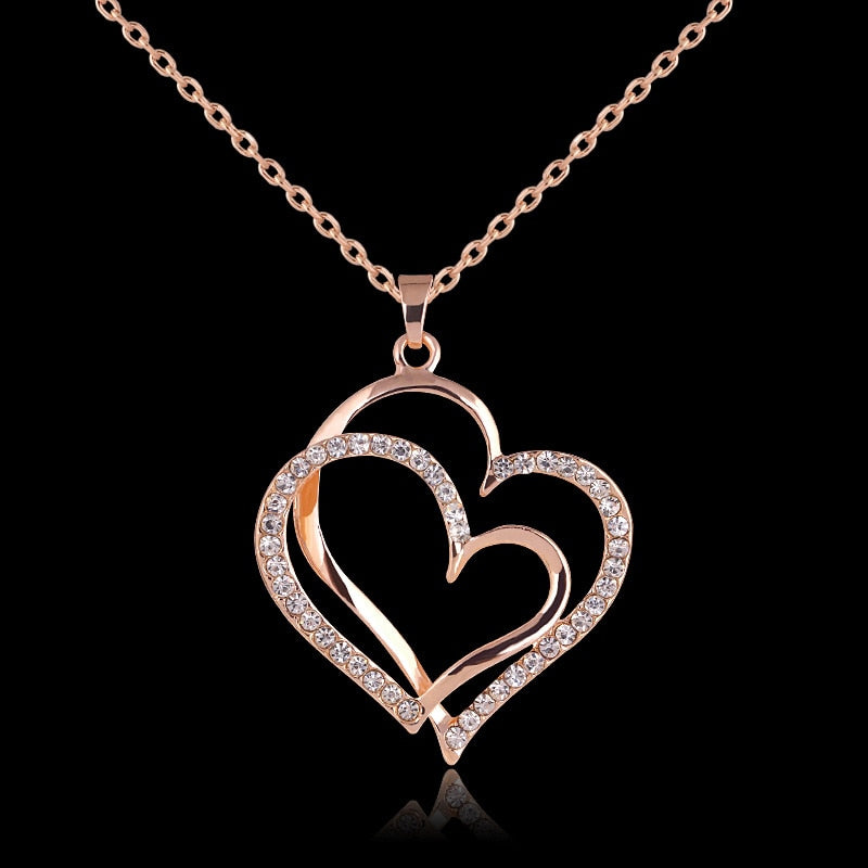 Rose gold color Crystal Double Heart Pendant Luxury Jewelry Love heart Necklaces Valentine's Day Wedding Jewelry