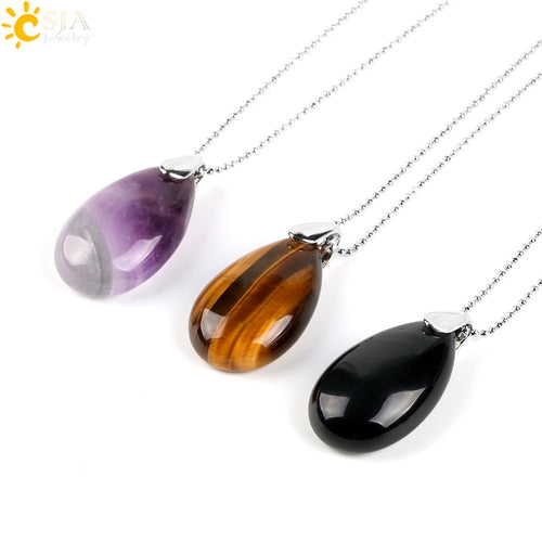 Natural Gem Stone Water Drop Necklaces Pendants Tiger Eye Lapis Lazuli Clear Crystal Opal Reiki Healing Jewellery