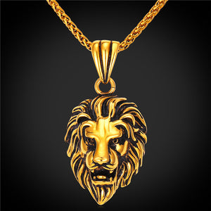Black Lion Charms Necklace Rock Punk Style Men/Women Retro Jewelry Gold Color Stainless Steel Chain Necklace & Pendan