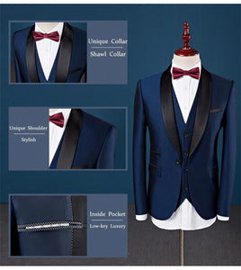 Men Suit  Wedding Suits For Men Shawl Collar 3 Pieces Slim Fit Burgundy Suit Men's Royal Blue Tuxedo Jacket