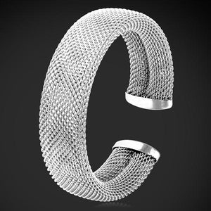 Stainless Steel Bracelets & Bangles Gold Color Big Mesh Cuff Bracelet For Men women Party Jewelry