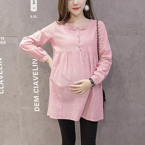Shirts For Pregnant Women Bow Spring Long Sleeve Pregnancy Tops&Blouses Fashion Striped Maternity Clothes Casual M~XXL Camisa