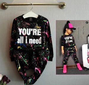 Summer 2pc Black Top + Pants Toddler girl clothing Clothes Children clothing set boys Girls tracksuit