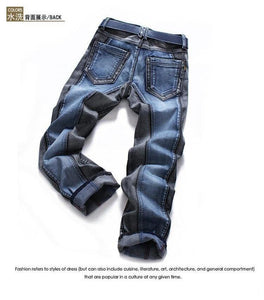 Winter Color Block Men's Jeans pants Slim straight Fashion Brands Rock  Elastic designer jeans for Men