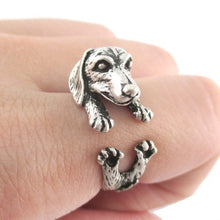 Load image into Gallery viewer, Antique Silver Realistic Dachshund Dog Puppy Animal Wrap Ring for Girl Women Gift - moonaro