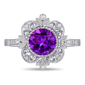 Jewelry 1.04ct Amethyst 14kt Gold 0.17ct Natural Diamond Engagement Ring