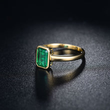 Load image into Gallery viewer, Simple Design Wedding Fine Jewelry Solid 14K Yellow Gold Natural Emerald Promised Rings for Women