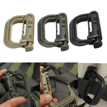 Load image into Gallery viewer, Attach Plasctic Shackle Carabiner D-ring Clip Molle Webbing Backpack Buckle Snap Lock Grimlock Camp Hike Mountain climb Outdoor - moonaro