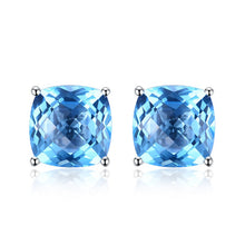 Load image into Gallery viewer, 100% Natural 5.0 CT Blue Topaz Stud Earrings 18K White Gold - moonaro
