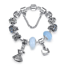 Load image into Gallery viewer, Silver Cute Helo Kitty Charm Bracelet&Bangle with Blue Murano Glass Beads Bracelet