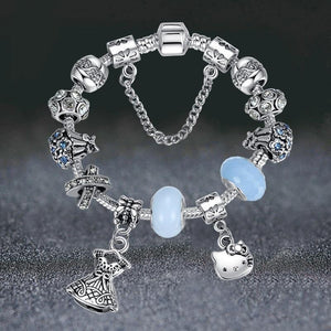 Silver Cute Helo Kitty Charm Bracelet&Bangle with Blue Murano Glass Beads Bracelet