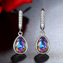 Load image into Gallery viewer, Pear Shape Gem Stone Rainbow Mystic Crystal Necklace/Pendant/Earrings for Women 925 Sterling Silver Jewelry