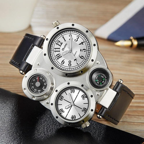 Casual Leather Sports Watches Men Luxury Brand Unique Designer Military Watch Male Quartz Wrist Watch