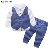 Load image into Gallery viewer, Top and Top Children Boys Formal Clothing sets Dots Vest+White shirt+ Pants 3pcs /Set Spring Autumn Kids Gentleman clothes suit