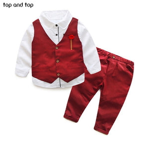 Top and Top Children Boys Formal Clothing sets Dots Vest+White shirt+ Pants 3pcs /Set Spring Autumn Kids Gentleman clothes suit
