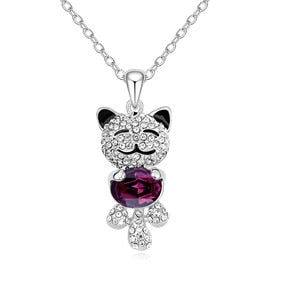 Luxury Necklace  multi colors Crystal Cat Pendant Necklace for women Elegant Party Jewelry