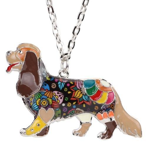 DOG Collection Alloy Cavalier King Charles Spaniel Choker Necklace Chain Collar Pendant Enamel Jewelry Women