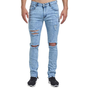 New Men Ankle Zipper Skinny Jeans Ripped Distressed Destroyed Fashion Casual Designer Brand Urban Jeans