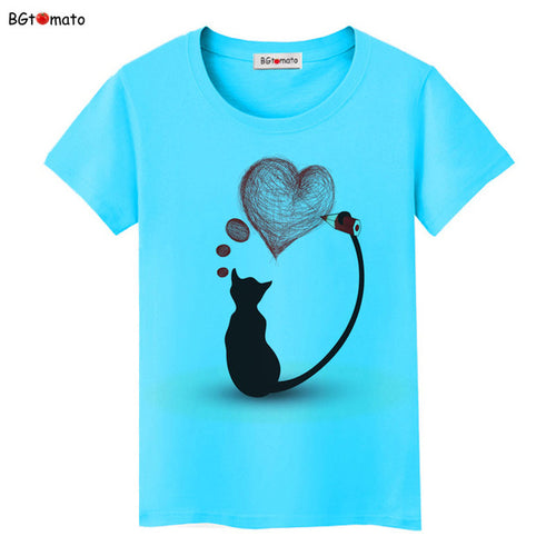 BGtomato Black cat pink love t-shirt women love story Literature and art shirts Good quality brand clothes casual tops - moonaro