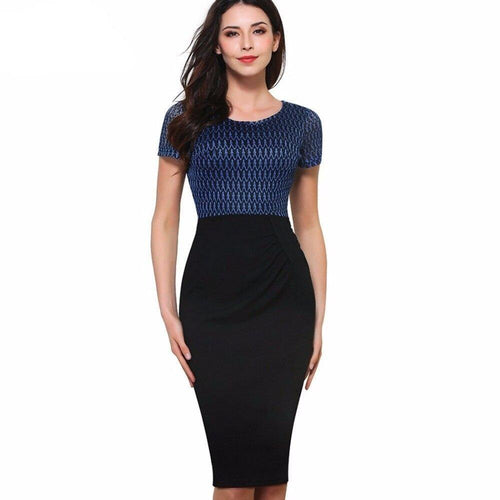 Vintage Net Mesh Patchwork Wear to Work Short Sleeve O-Neck Bodycon Woman Office Pencil Slim Dress - moonaro