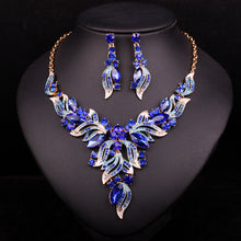 Load image into Gallery viewer, Fashion Rhinestone Bridal Jewelry Sets Wedding Prom Party Costume Accessories Gold Color Necklace Earring Set for Brides - moonaro
