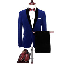 Load image into Gallery viewer, Velvet Suit Men Slim Fit Wedding Suits For Men Shawl Collar High Quality Royal Blue Burgundy Tuxedo Jacket - moonaro